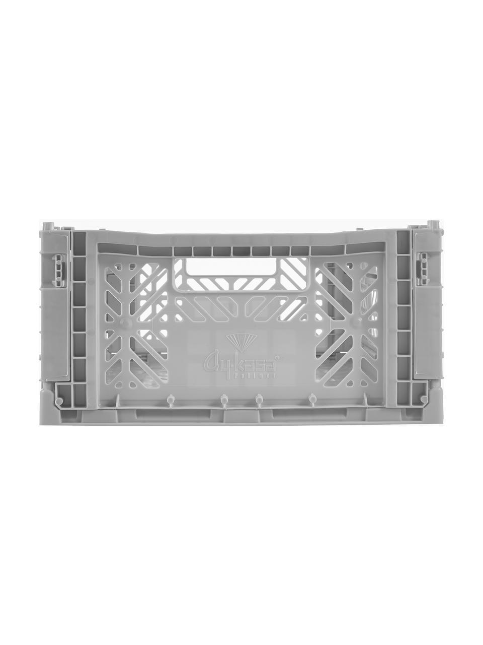 Klappbox Grey, stapelbar, medium, Recycelter Kunststoff, Grau, 40 x 14 cm