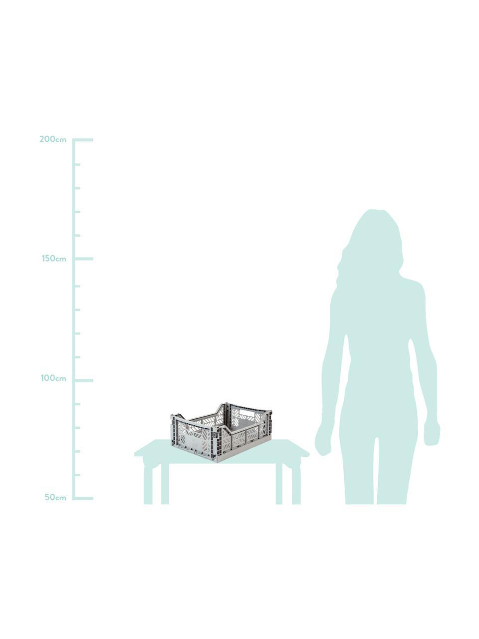 Cesto medio pieghevole e impilabile Midi, Materiale sintetico riciclato, Grigio, Larg. 40 x Alt. 14 cm