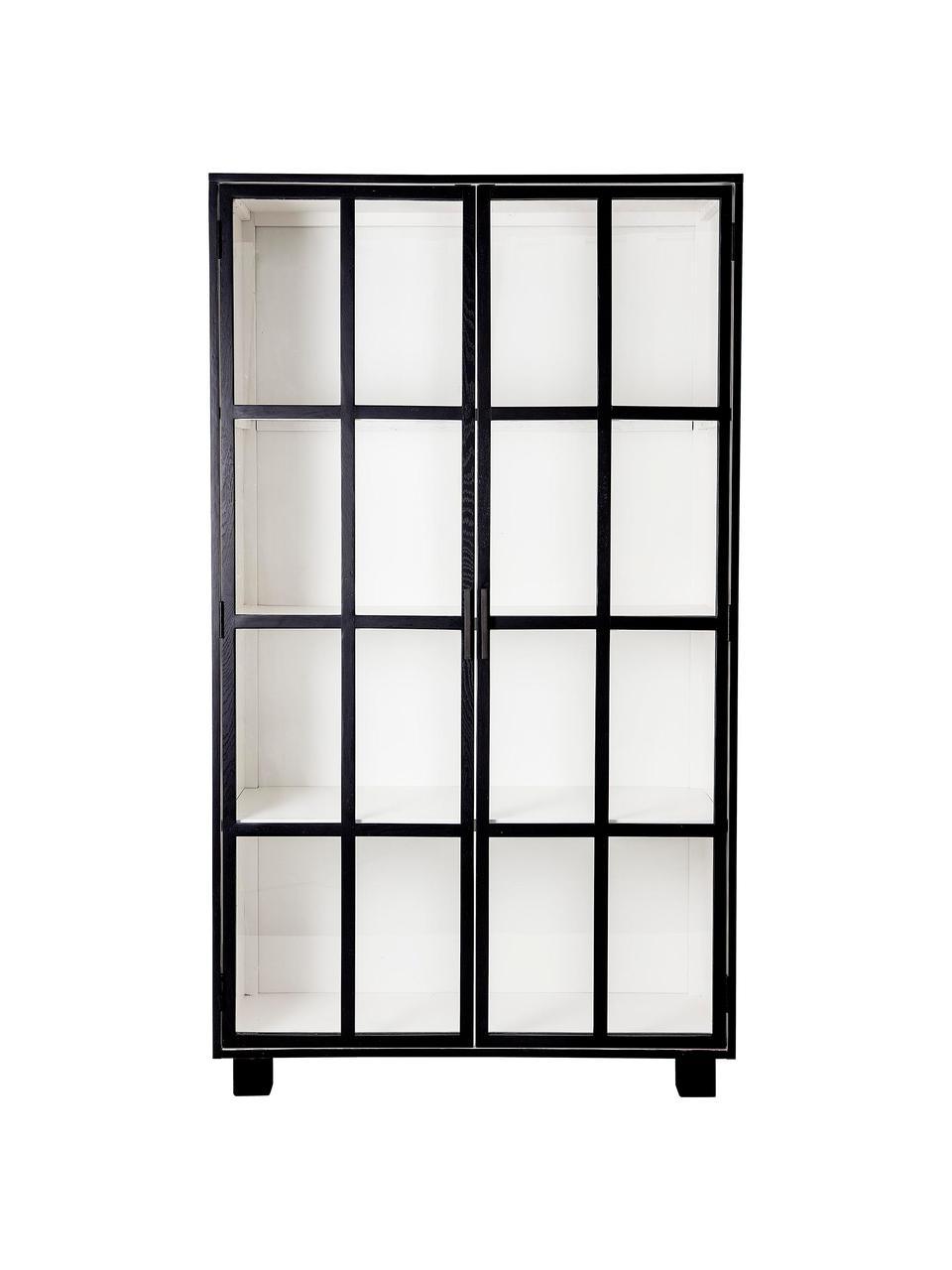 Vitrinenschrank Isbel mit Glastüren in Schwarz, Korpus: Mitteldichte Holzfaserpla, Schwarz, Weiß, 114 x 200 cm