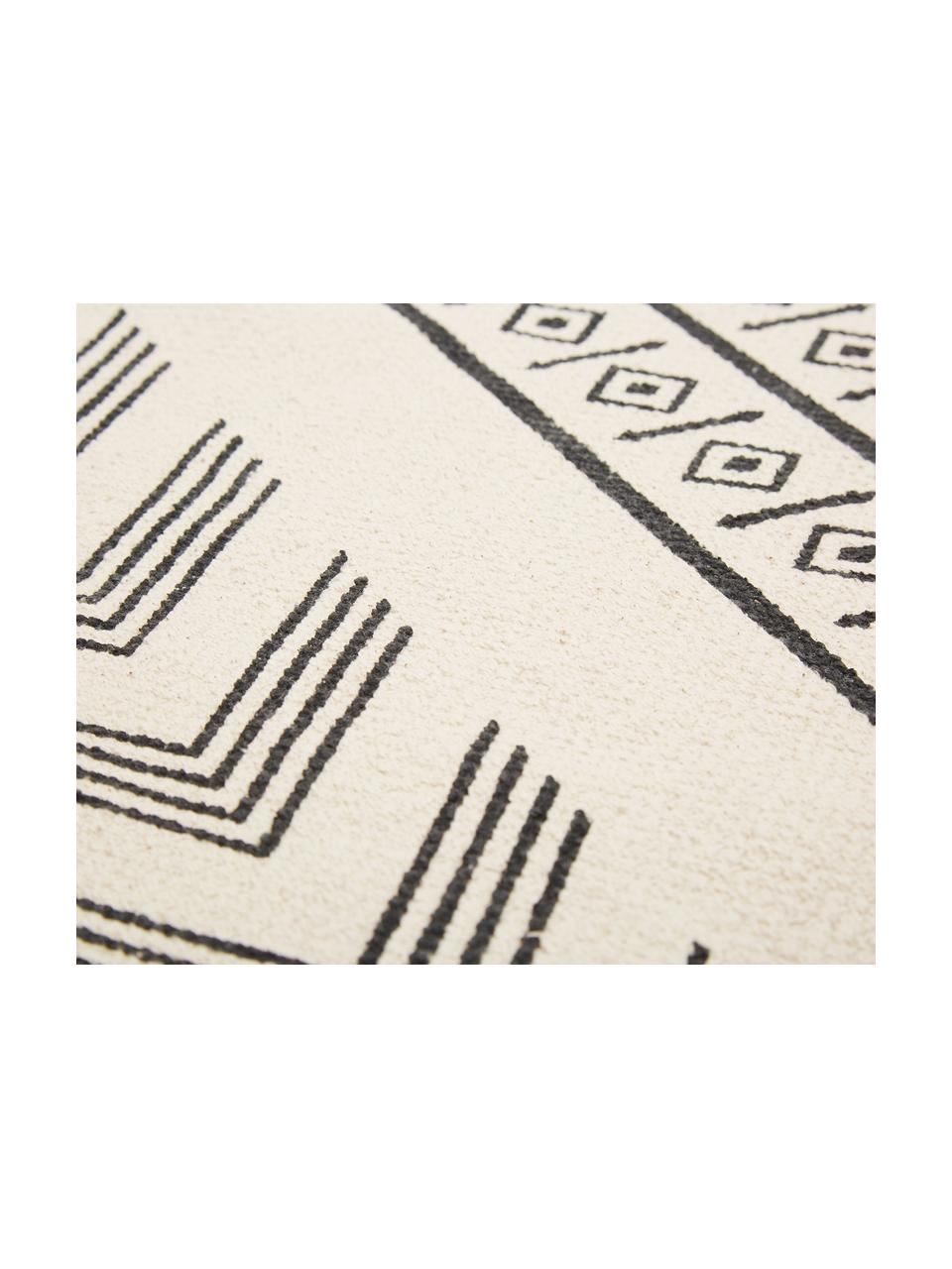 Handgewebter Baumwollläufer Edna im Ethno Style, 100% Baumwolle, Cremeweiß, Schwarz, 80 x 250 cm