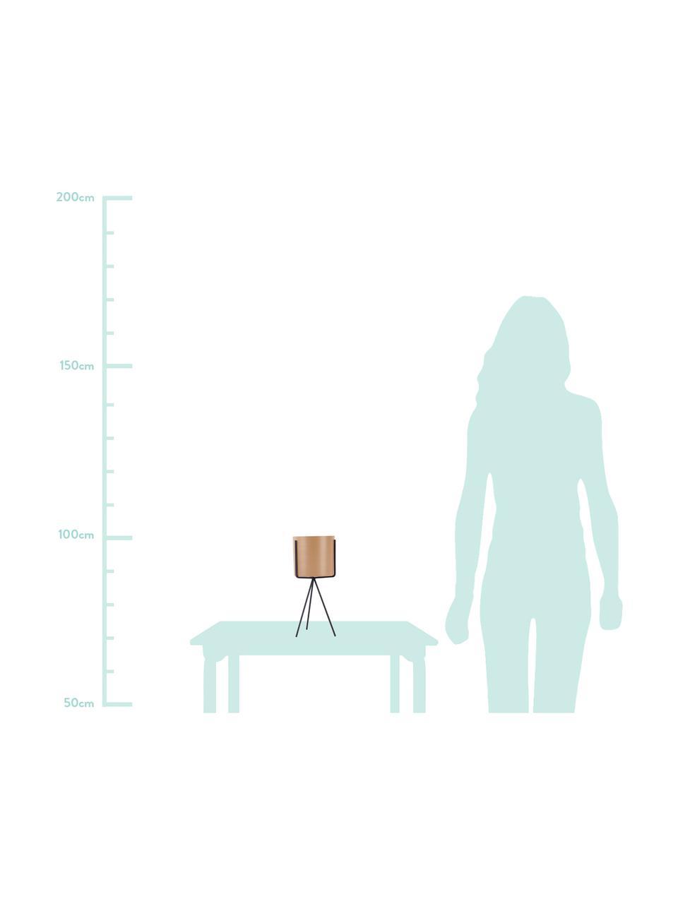 XS Übertopf-Set Pedestal aus Metall, 2-tlg., Metall, beschichtet, Sandfarben, Schwarz, Ø 13 x H 30 cm