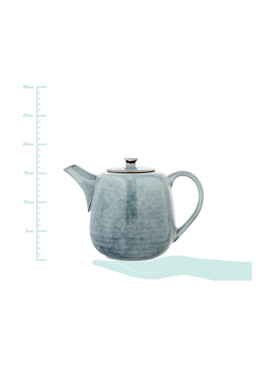 Handgemachte Teekanne Nordic Sea aus Steingut, 1.3 L, Steingut, Grau- und Blautöne, 1.3 L