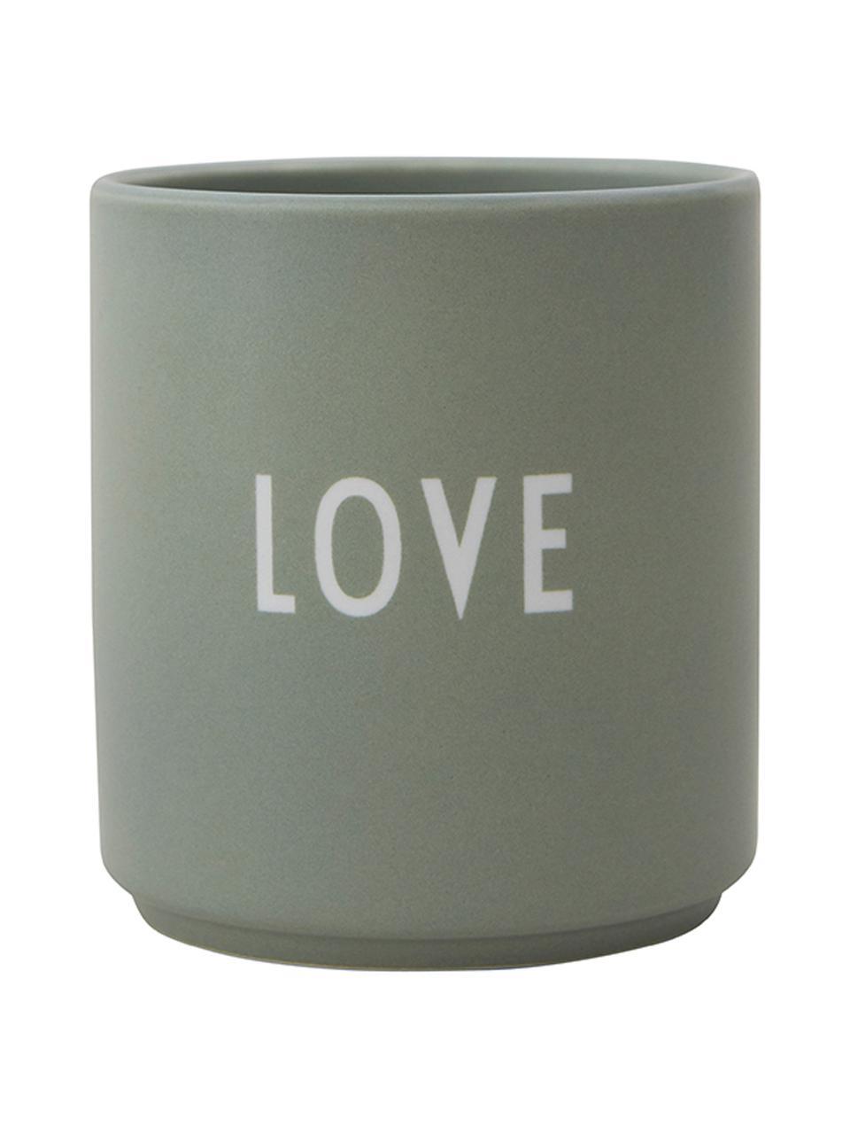Mug en porcelaine Favourite, Vert, blanc