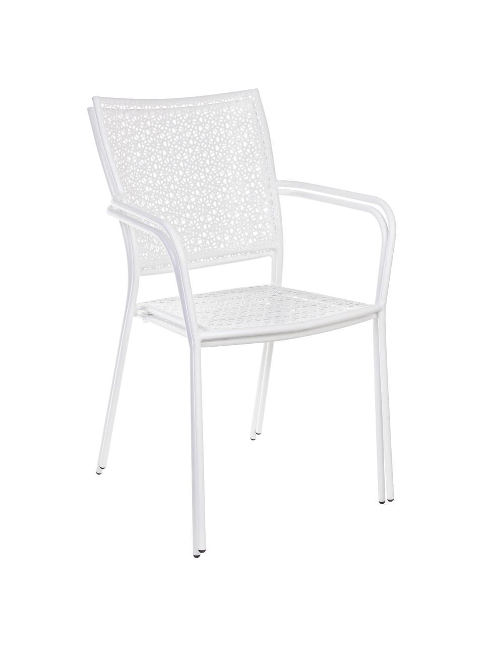 Krzesło ogrodowe z metalu z podłokietnikami Jodie, Stal pokryta proszkiem epoksydowym, Biały, 57 x 89 cm