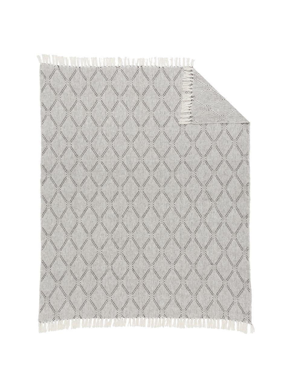 Plaid Diamond mit Rautenmuster, 100% Baumwolle, Grau, Schwarz, Weiß, 125 x 150 cm