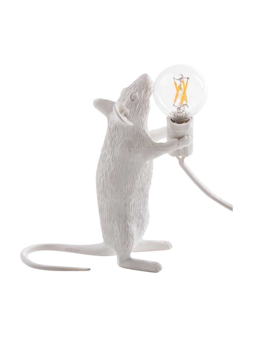 Lampada da tavolo a LED Mouse, Lampada: resina sintetica, Bianco, Larg. 6 x Alt. 15 cm