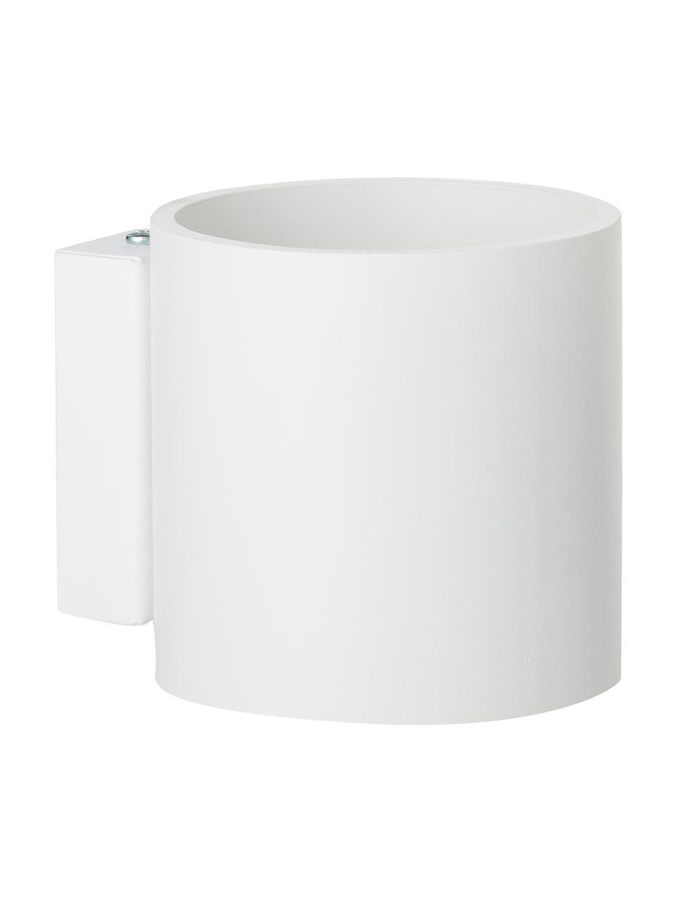 Applique bianca Roda, Paralume: alluminio verniciato a po, Bianco, Larg. 10 x Alt. 10 cm