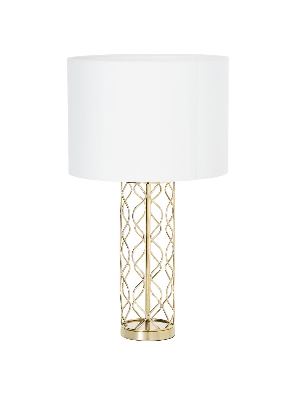 Große Tischlampe Adelaide in Weiß-Gold, Lampenschirm: Textil, Lampenfuß: Metall, Lampenschirm: Creme.Lampenfuß: Goldfarben, Ø 35 x H 62 cm