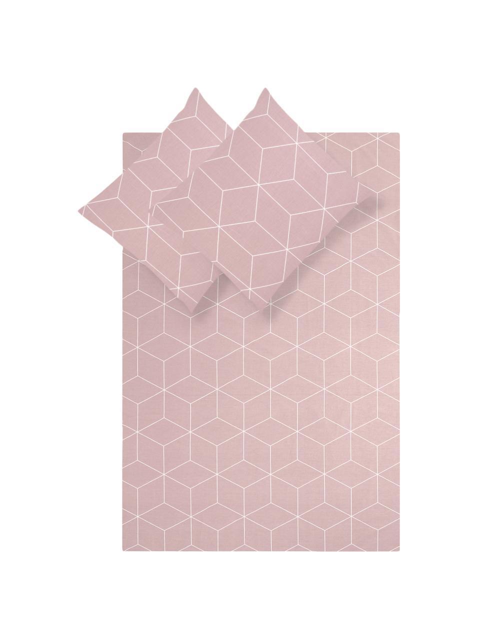 Renforcé dekbedovertrek Lynn, Weeftechniek: renforcé, Oudroze, crèmewit, 140 x 200 cm