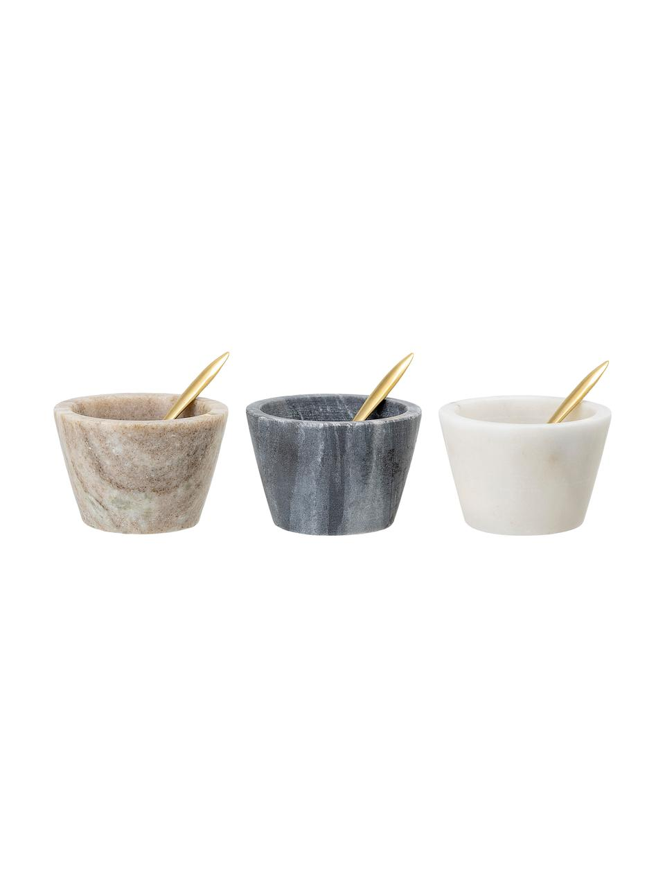 Komplet misek z marmuru Janina, 6 elem., Marmur, mosiądz, Wielobarwny, Ø 8 x W 5 cm