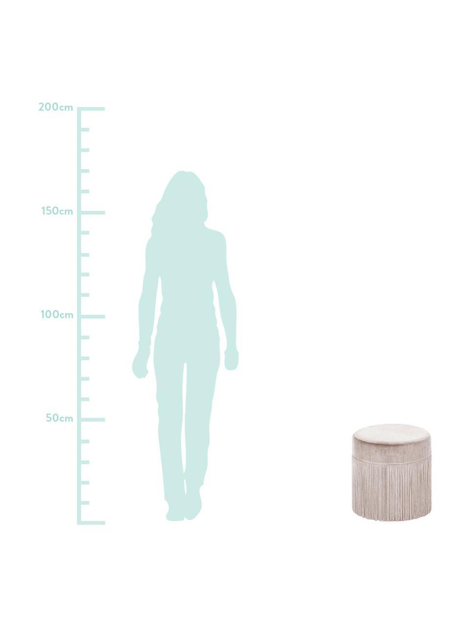 Pouf con frange Adriana, Rivestimento: velluto, Frange: viscosa, Champagne, Ø 40 x A 40 cm