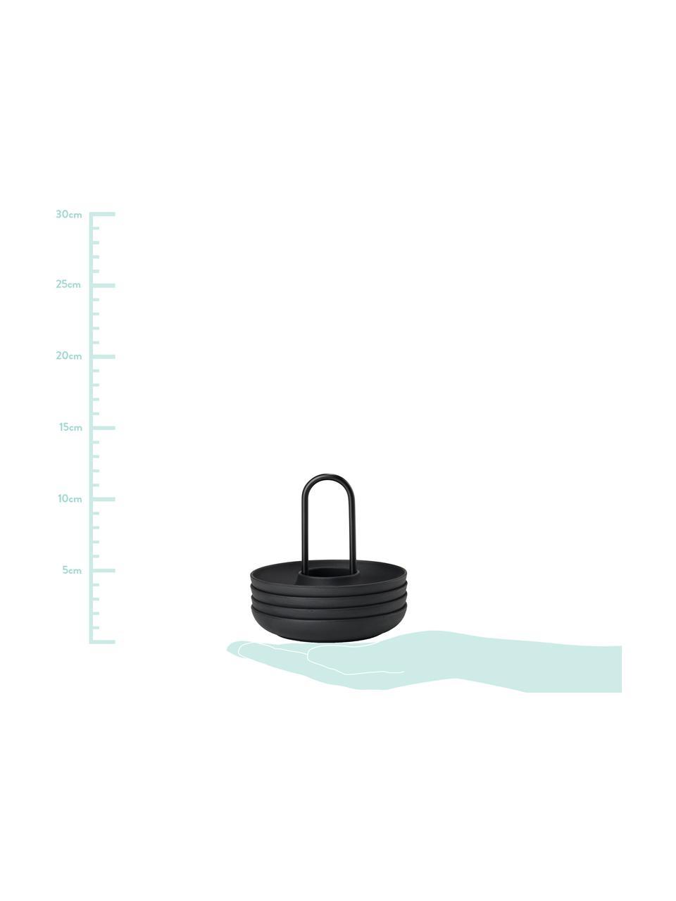 Eierbecher Henk, 4 Stück, Silikon, Metall, beschichtet, Schwarz, Ø 11 cm