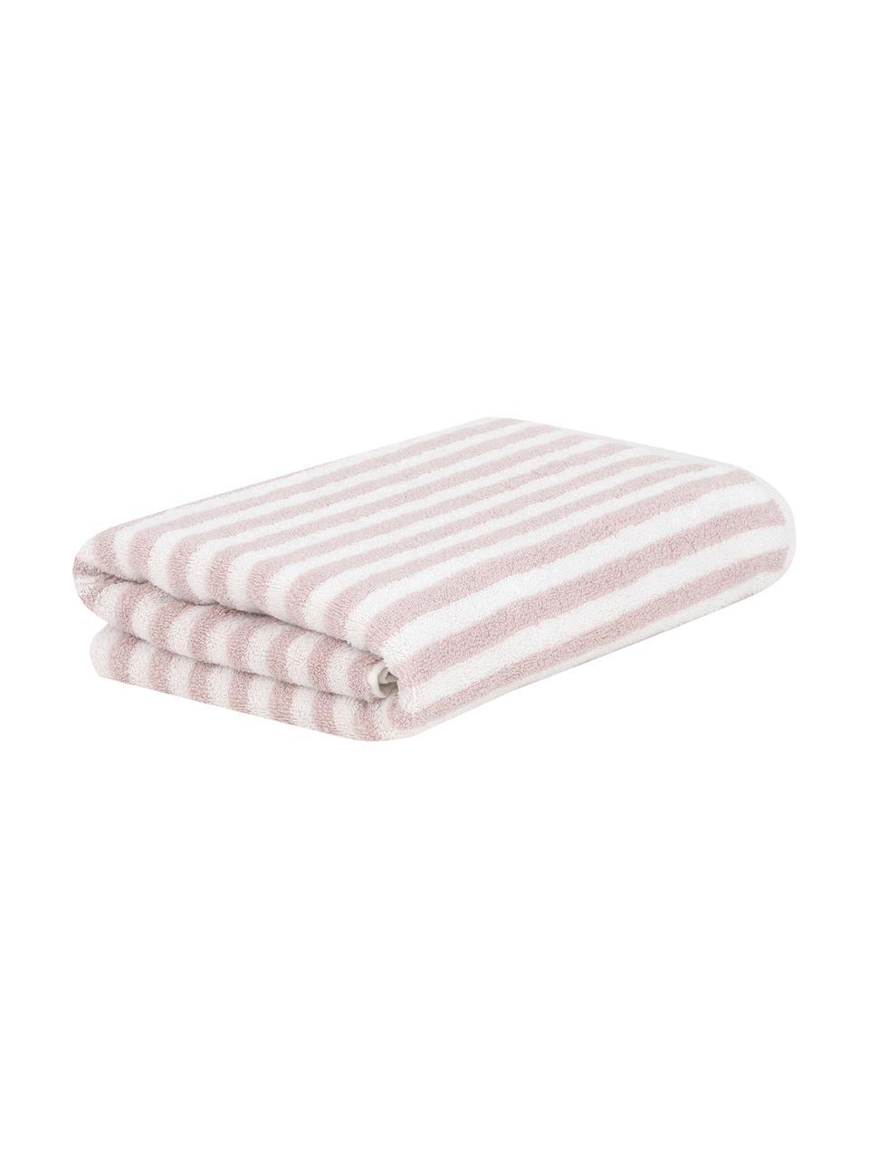 Gestreiftes Handtuch Viola, 100% Baumwolle, mittelschwere Qualität 550 g/m², Rosa, Cremeweiß, Gästehandtuch