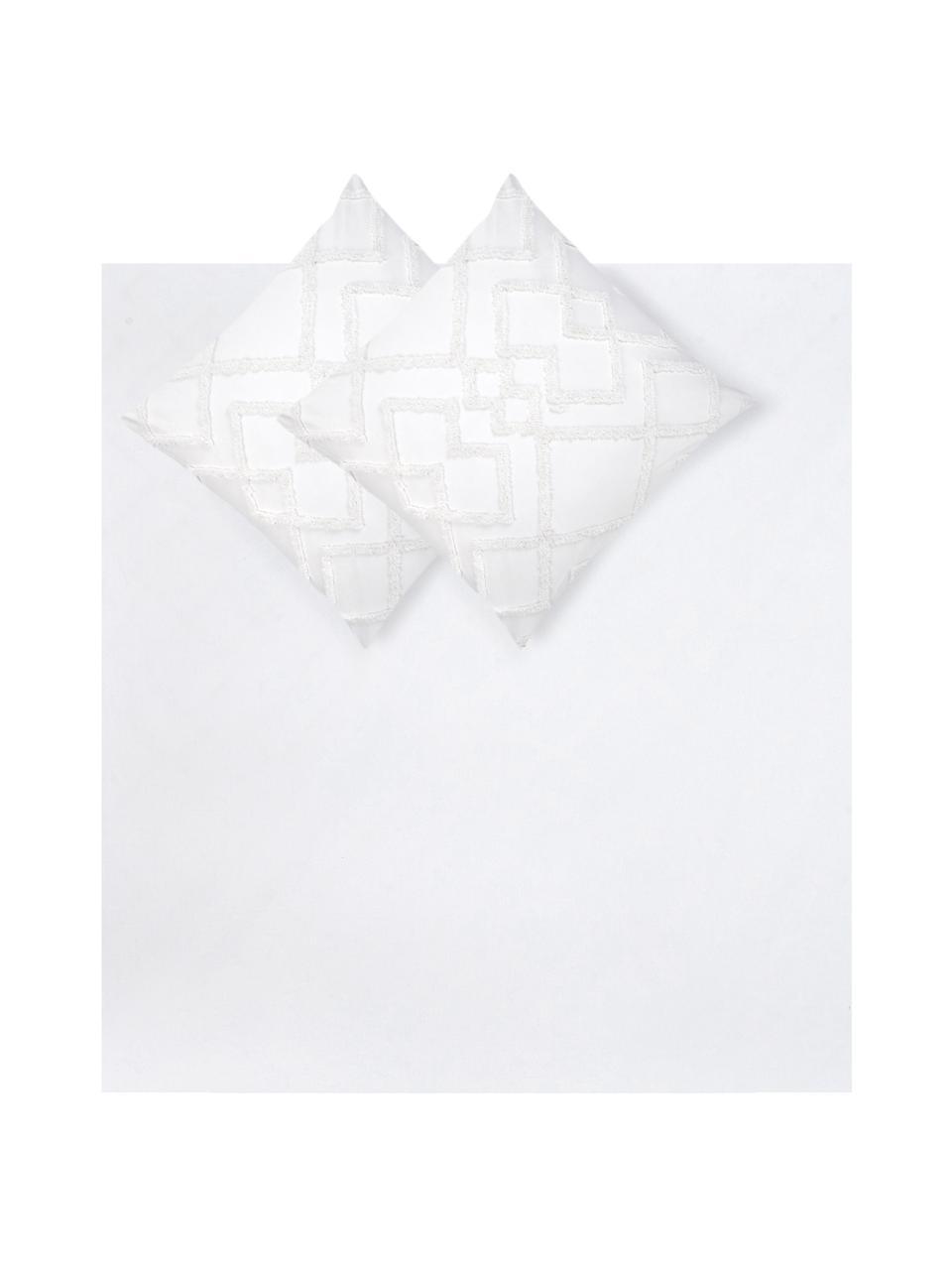 Baumwollperkal-Bettwäsche Faith mit getufteter Verzierung, Webart: Perkal Fadendichte 180 TC, Weiß, 240 x 220 cm + 2 Kissen 80 x 80 cm