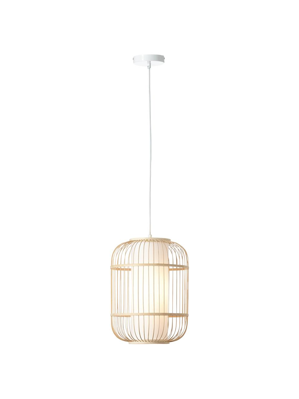 Suspension en bambou Bones, Brun clair, blanc