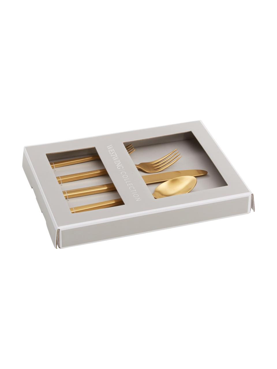 Set di posate dorate in acciaio inossidabile Shine, Coltello: acciaio inossidabile 13/0, Dorato, 1 persona (5 pz.)