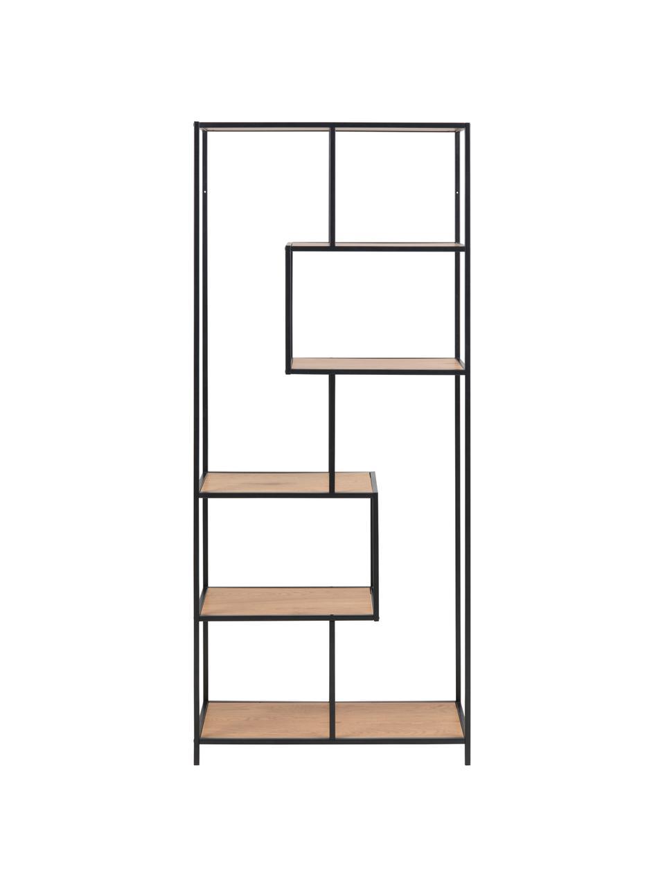 Libreria in legno e metallo Seaford, Ripiani: pannello di fibra a media, Struttura: metallo verniciato a polv, Quercia selvatica, nera, Larg. 77 x Alt. 185 cm