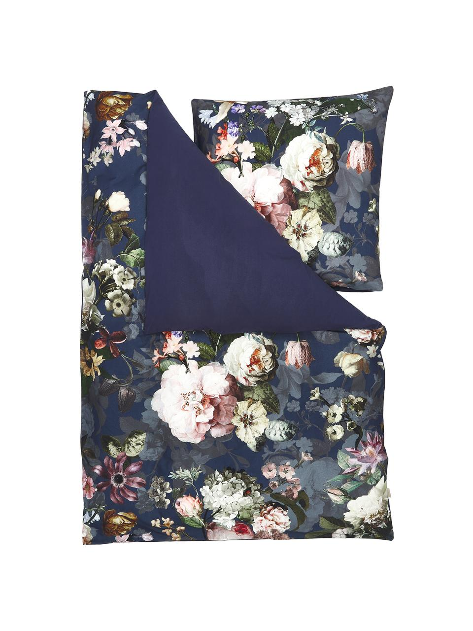 Flanell-Bettwäsche Fleurel mit Blumen-Muster, Webart: Flanell Fadendichte 144 T, Dunkelblau, Mehrfarbig, 155 x 220 cm + 1 Kissen 80 x 80 cm