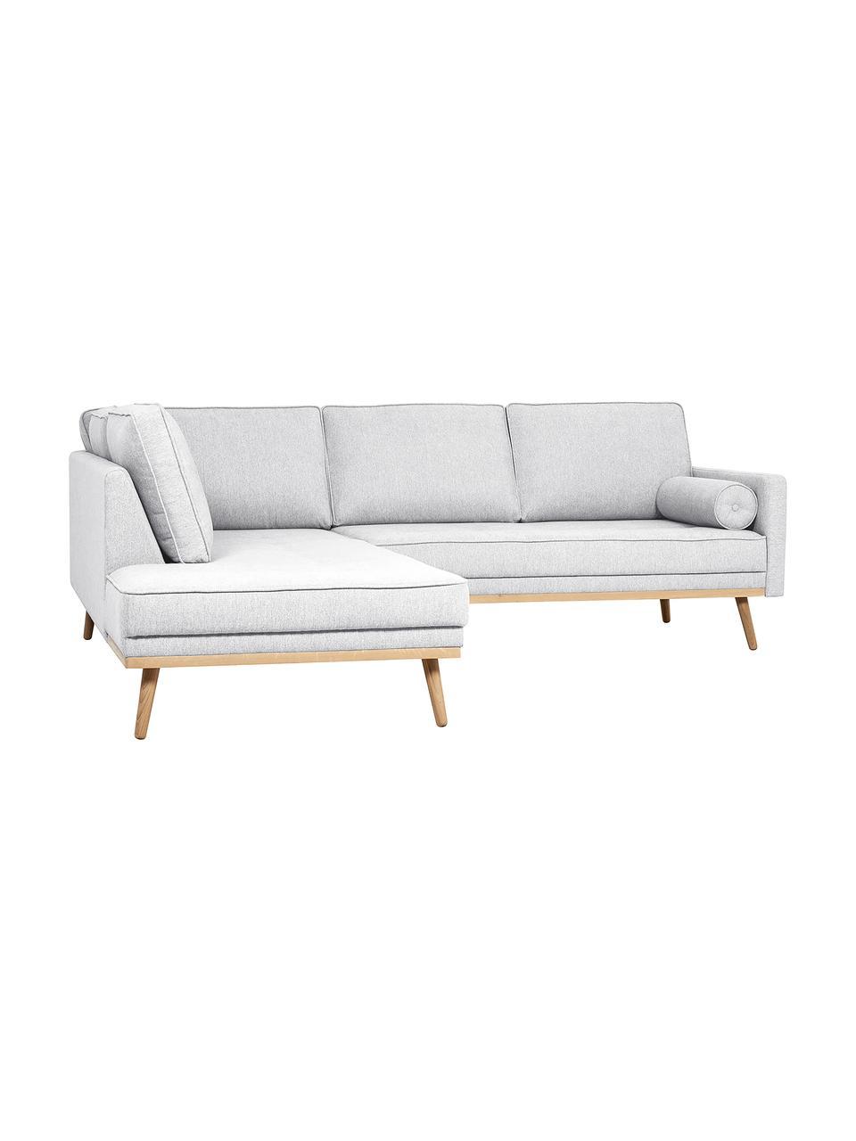 Canapé d'angle 3places gris clair Saint, Tissu gris clair