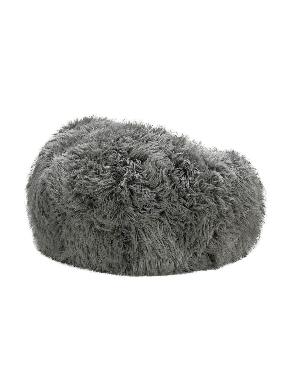 Kunstfell-Sitzsack Flokati, Bezug: 95% Acryl, 5% Polyester 3, Grau, Ø 140 x H 90 cm