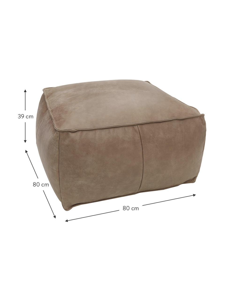 Cuscino da pavimento in pelle Porthos, Rivestimento: 100% pelle anilina, Marrone, Larg. 80 x Alt. 33 cm