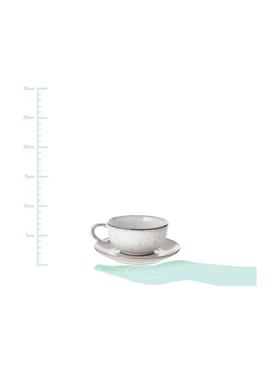 Handgemachte Tasse mit Untertasse Nordic Sand aus Steingut, Steingut, Sand, Ø 11 x H 5 cm