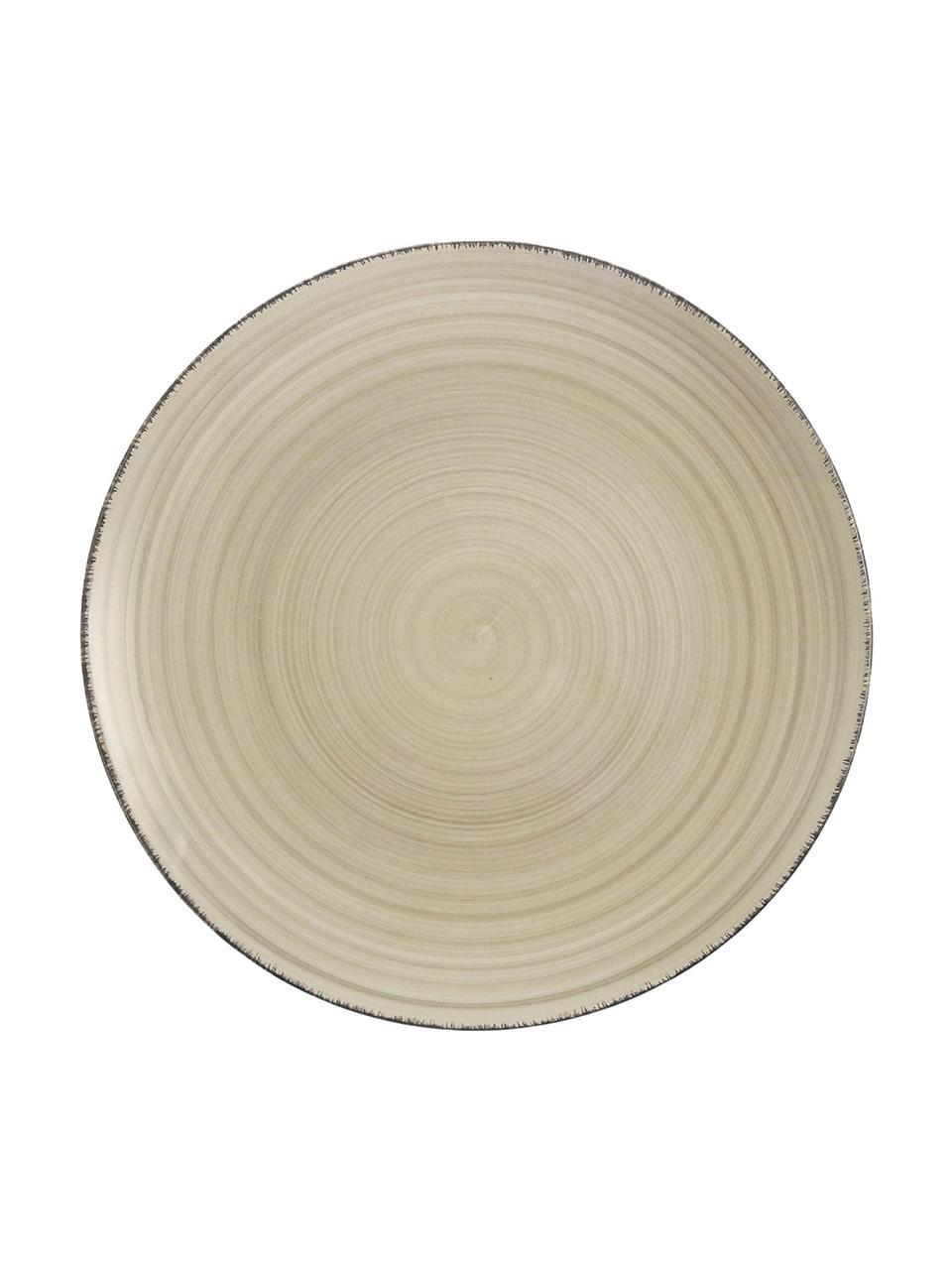 Handbemalte Frühstücksteller Baita in Greige, 6 Stück, Steingut (Dolomitstein), handbemalt, Greige, Ø 20 cm