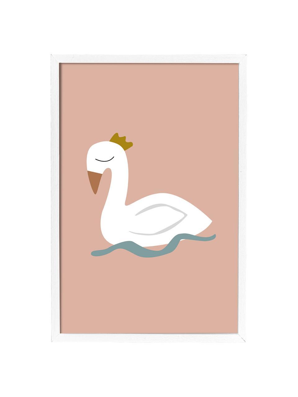 Gerahmter Digitaldruck Swan, Bild: Digitaldruck auf Papier, , Rahmen: Mitteldichte Holzfaserpla, Rosa, Weiß, Blau, Gelb, 45 x 65 cm