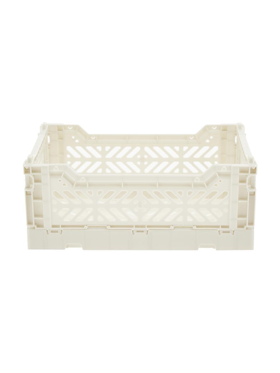 Cesto piccolo pieghevole e impilabile Coconut Milk, Materiale sintetico riciclato, Bianco latteo, Larg. 27 x Alt. 11 cm