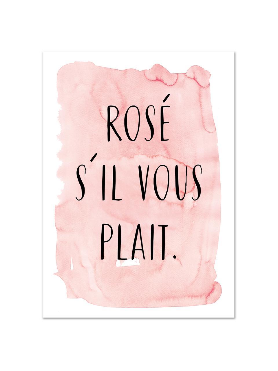 Poster S'il Vous Plait, Stampa digitale su carta, 200 g/m², Rosa, nero, bianco, Larg. 30 x Alt. 42 cm