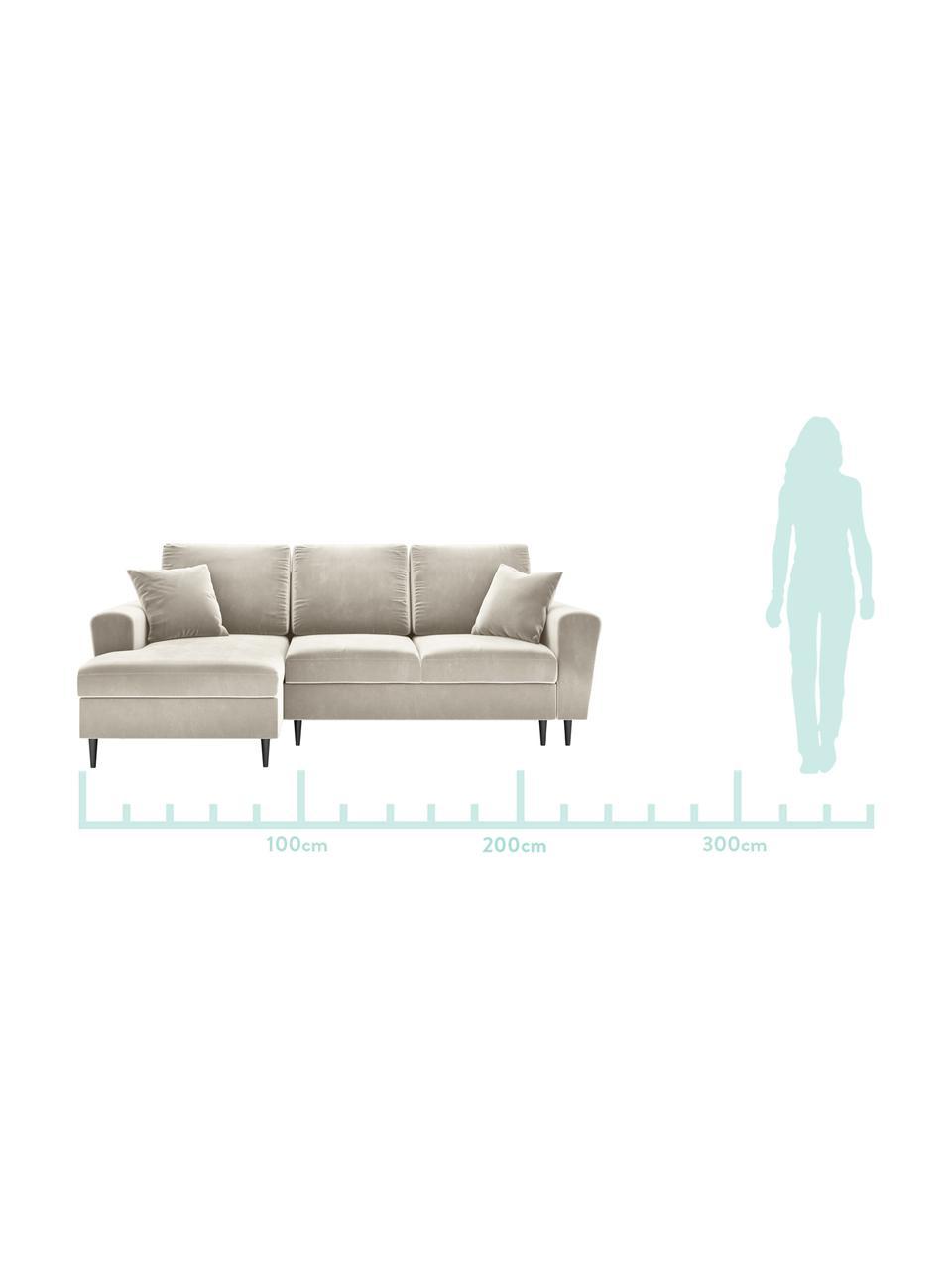 Sofa narożna z funkcją spania z miejscem do przechowywania Moghan (4-osobowa), Tapicerka: aksamit poliestrowy Dzięk, Stelaż: lite drewno sosnowe, skle, Nogi: metal lakierowany, Beżowy, S 236 x G 145 cm (lewostronna)