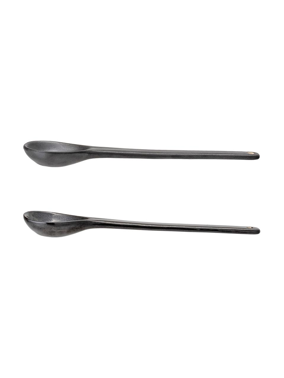 Set 2 cucchiai in gres Leah, Gres, Nero, Lung. 18 cm