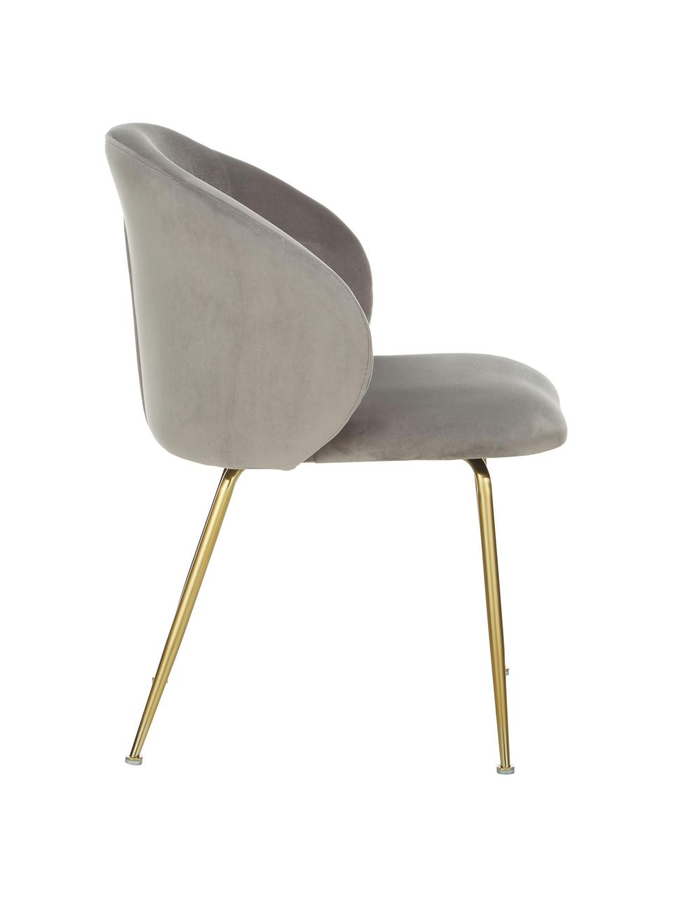 Krzesło tapicerowane z aksamitu Luisa, 2 szt., Nogi: metal lakierowany, Aksamitny jasny szary, złoty, S 59 x G 58 cm