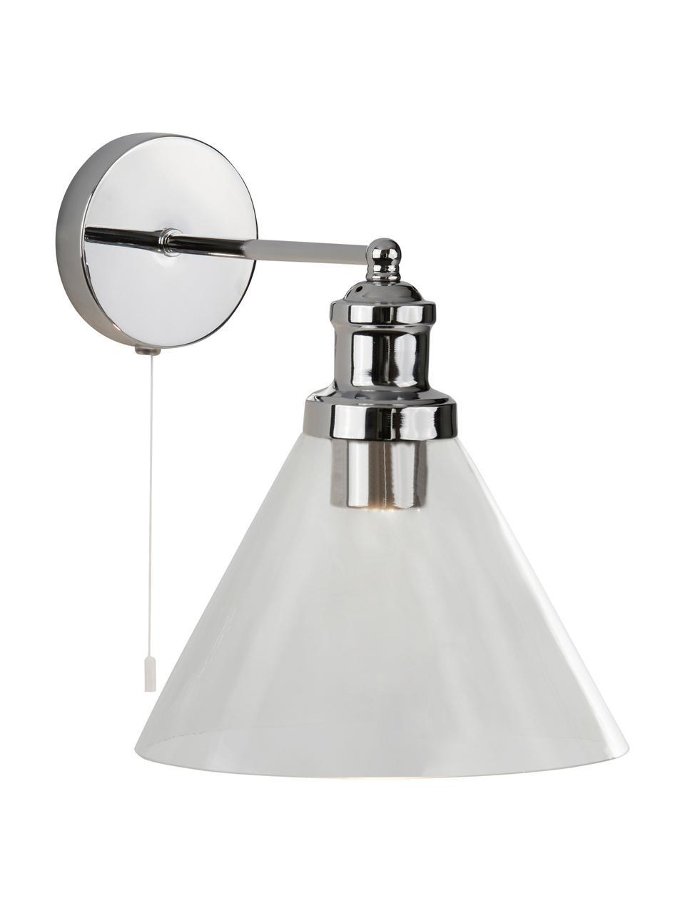 Applique Pyramid, Paralume: vetro, Interruttore: materiale sintetico, Cromo trasparente, Larg. 19 x Alt. 25 cm
