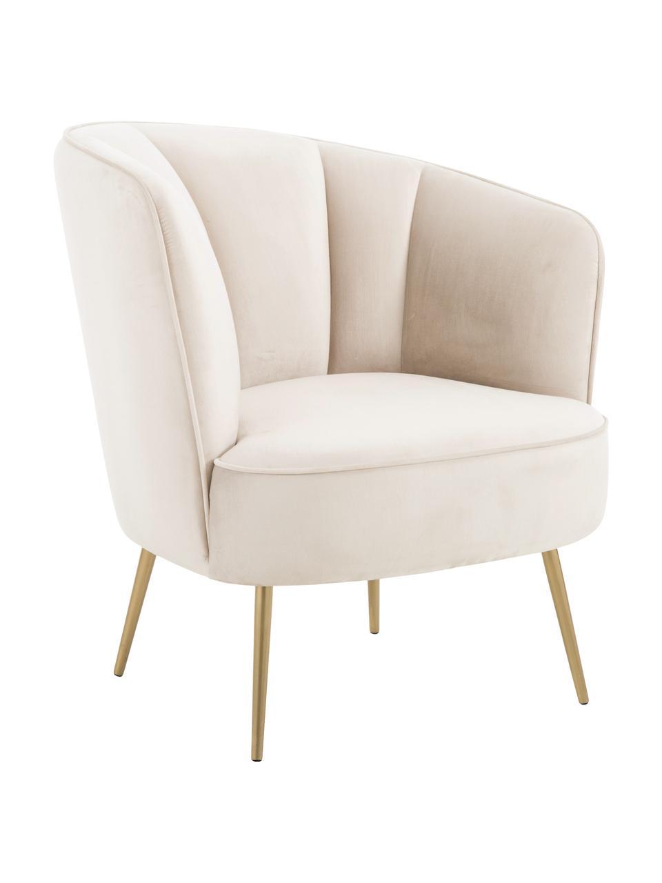 Fluwelen fauteuil Louise in beige, Bekleding: fluweel (polyester), Poten: gecoat metaal, Fluweel beige, 76 x 75 cm