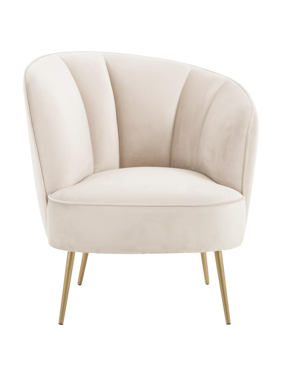 Fauteuil cocktail en velours beige Louise, Velours beige
