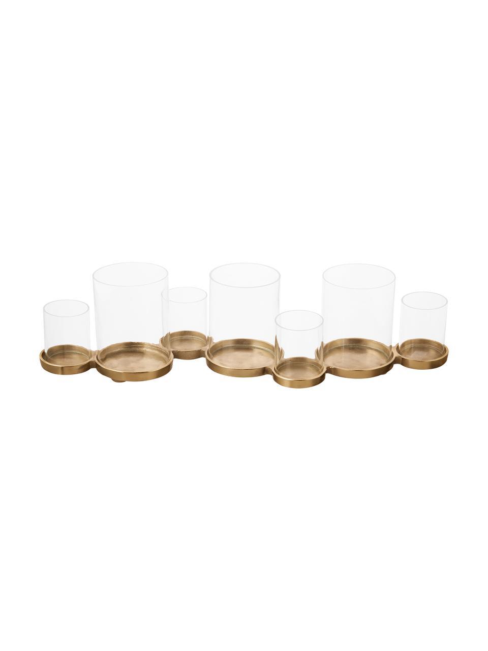 Windlicht Myra, Sockel: Aluminium, beschichtet, Windlicht: Glas, Champagnerfarben, 58 x 14 cm