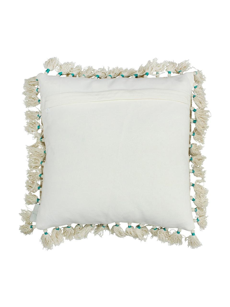 Cuscino con nappe e imbottitura Latina, Beige, multicolore, Larg. 45 x Lung. 45 cm