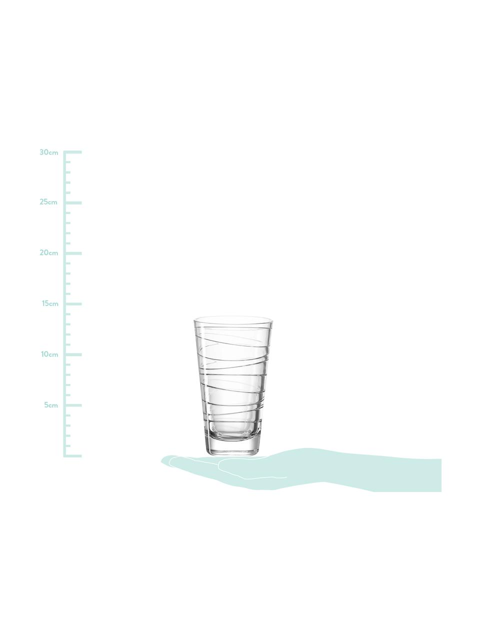Wassergläser Vario mit feinen Linien, 6er-Set, Kalk-Natron Glas, Transparent, Ø 8 x H 13 cm