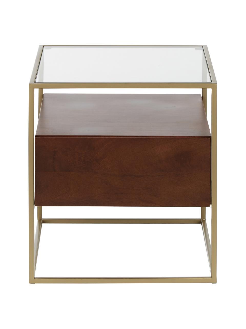 Beistelltisch Theodor mit Schublade, Tischplatte: Glas, Gestell: Metall, pulverbeschichtet, Transparent, Mangoholz, Goldfarben, 45 x 50 cm