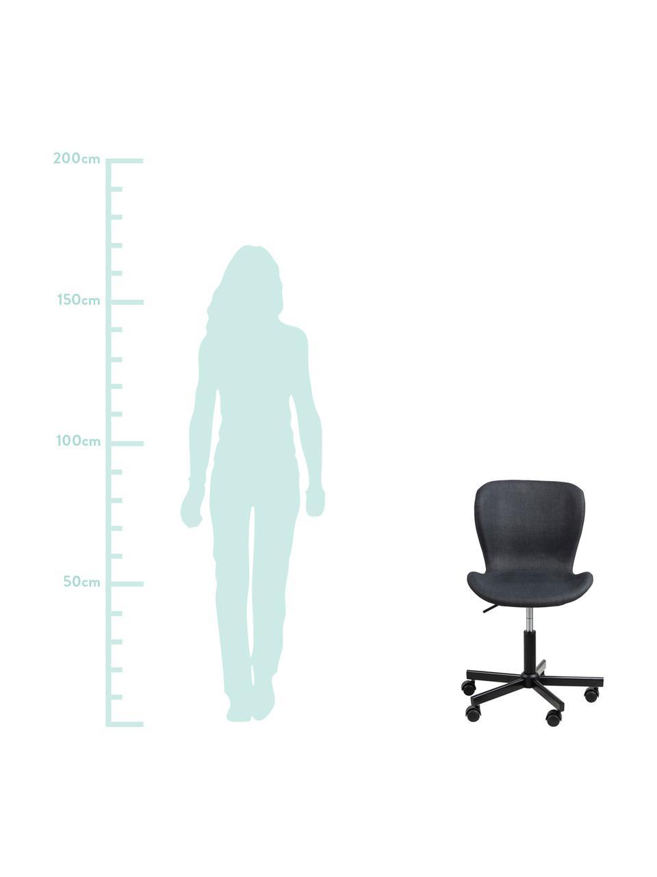 Bureaustoel Batilda, in hoogte verstelbaar, Bekleding: stof, Poten: gepoedercoat metaal, Wieltjes: kunststof, Antraciet, B 55 x D 54 cm