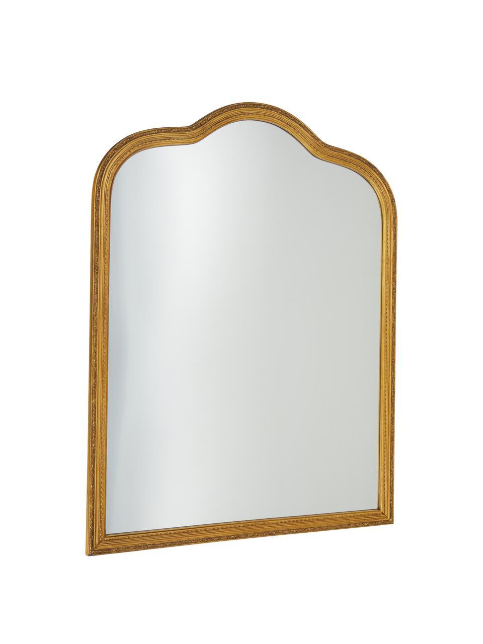 Barock-Wandspiegel Muriel, Rahmen: Massivholz mit Goldfolie , Spiegelfläche: Spiegelglas, Rückseite: Metall, Mitteldichte Holz, Gold, 90 x 120 cm