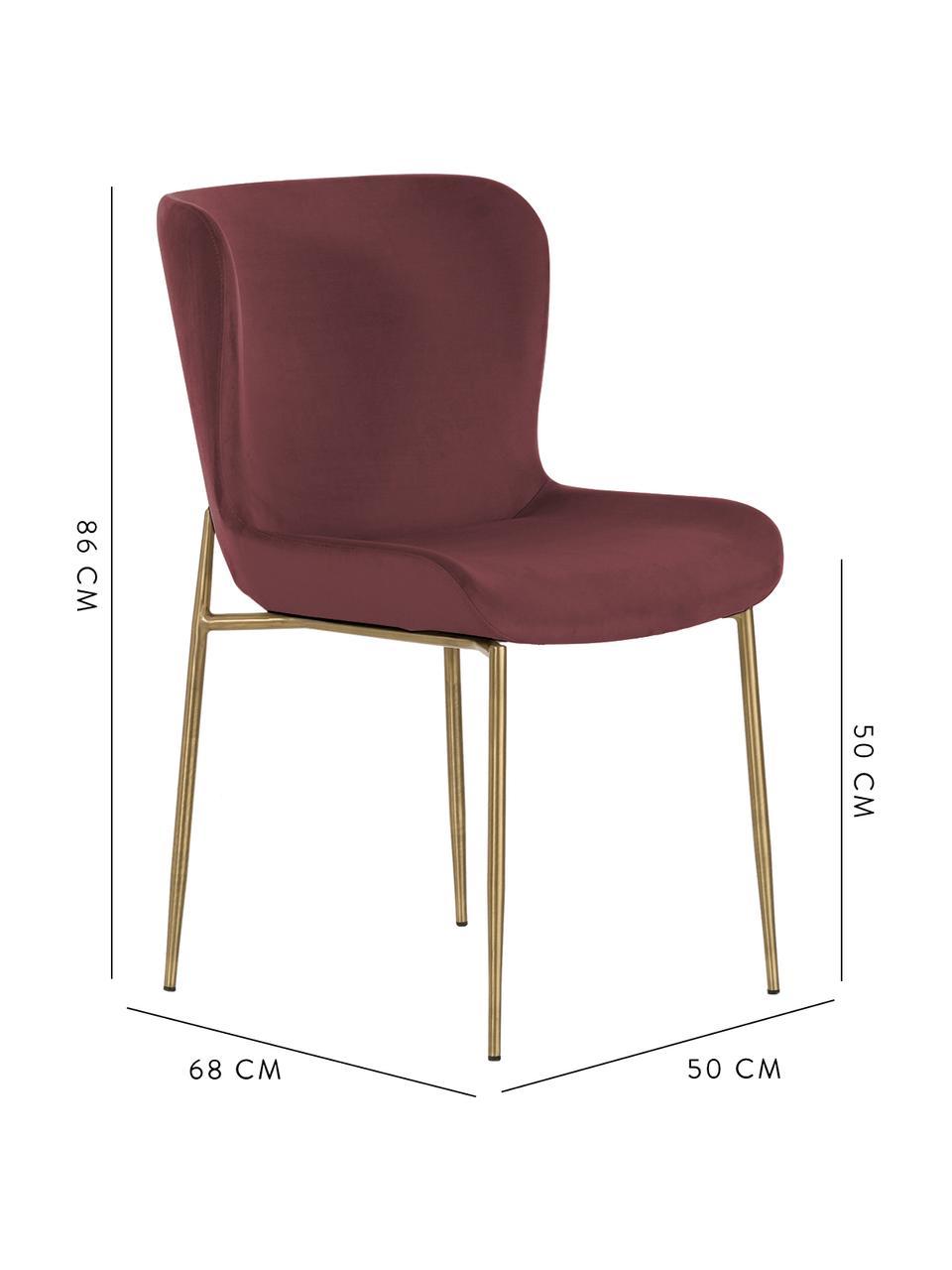 Samt-Polsterstuhl Tess, Bezug: Samt (Polyester) 30.000 S, Beine: Metall, beschichtet, Samt Bordeaux, Beine Gold, B 49 x T 64 cm