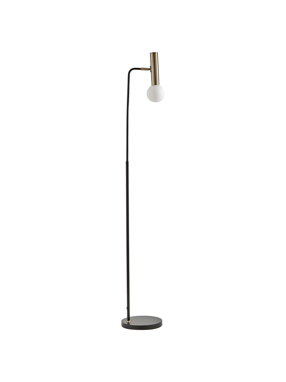 Leselampe Wilson mit Glasschirm, Lampenfuß: Metall, pulverbeschichtet, Lampenschirm: Glas, Schwarz, Ø 23 x H 151 cm