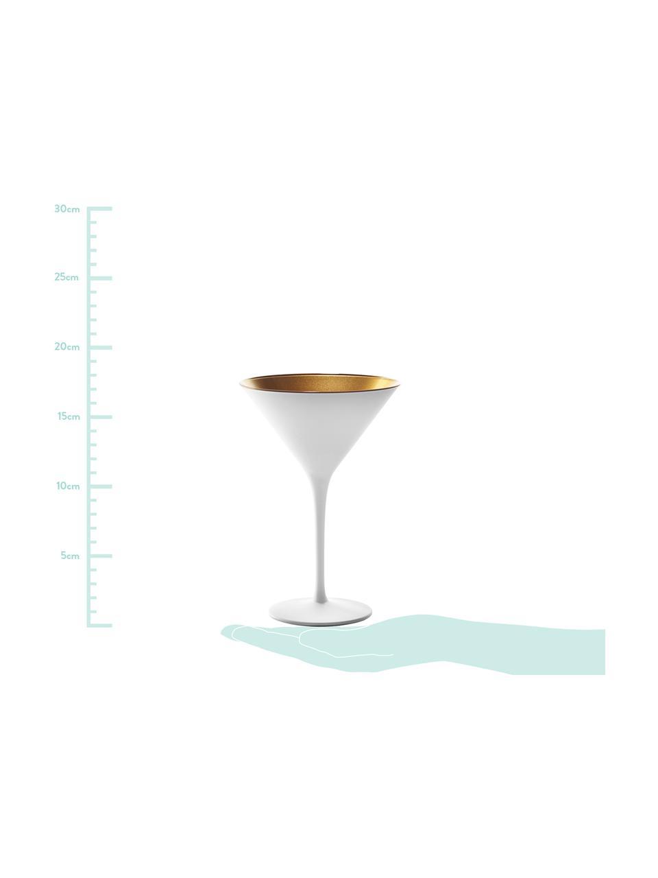Křišťálová sklenice na koktejly Elements, 6 ks, Bílá, mosazná