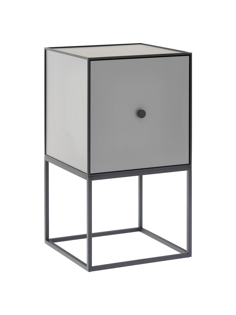 Mesilla de noche de diseño Frame, Cuerpo: tablero de fibras de dens, Negro, gris oscuro, An 35 x Al 63 cm