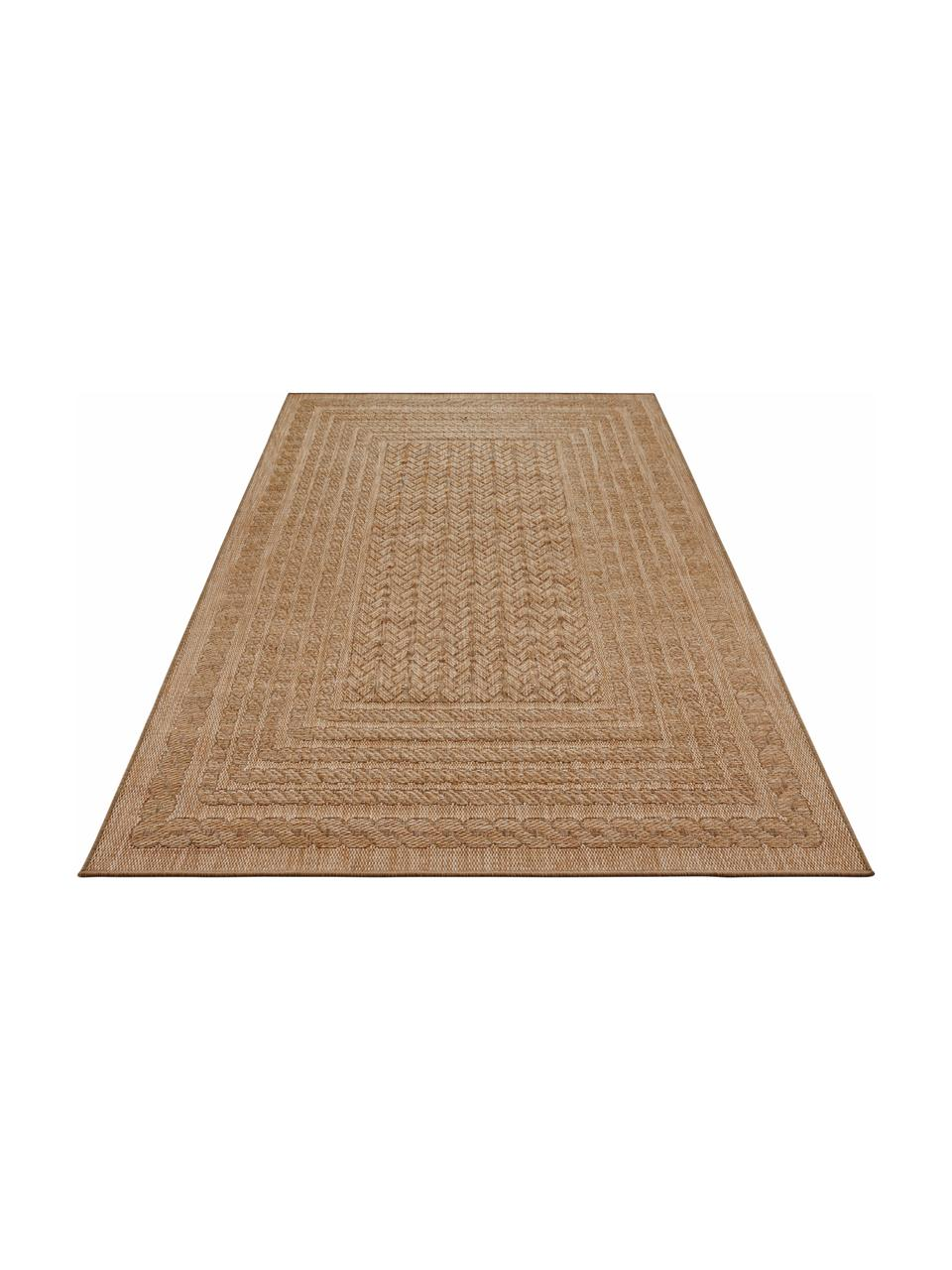 In- &  outdoor vloerkleed Limonero in juten look, 100% polypropyleen, Beige, bruin, B 200 x L 290 cm (maat L)