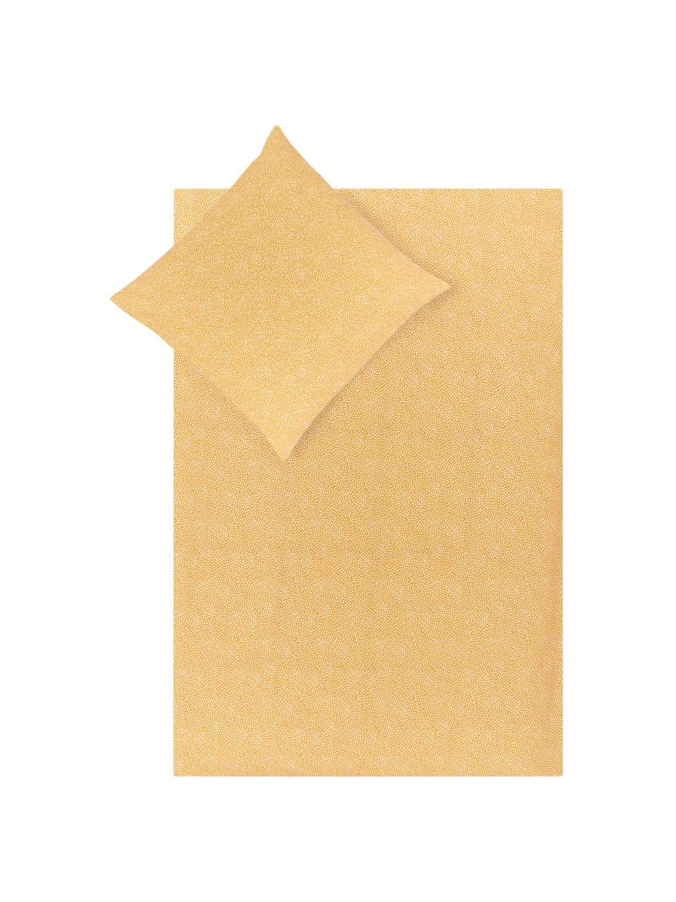 Dwustronna pościel z bawełny renforcé  Dots & Doodles, Brunatnożółty, biały, czarny, 135 x 200 cm