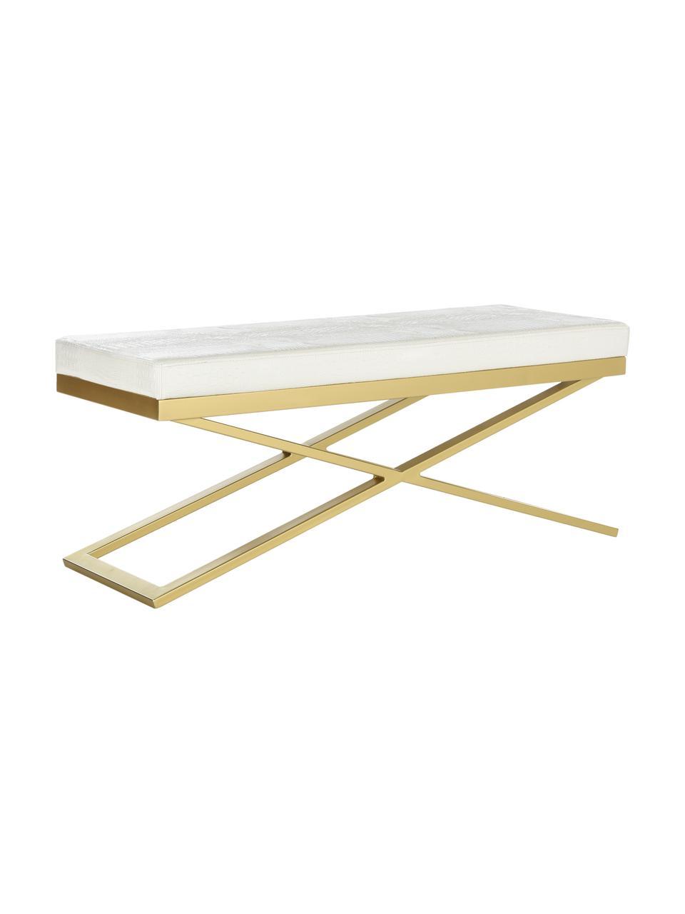 Sitzbank Susan mit Kunstleder, Gestell: Stahl, lackiert, Bezug: Kunstleder (Polyurethan) , Weiß, Goldfarben, 109 x 46 cm