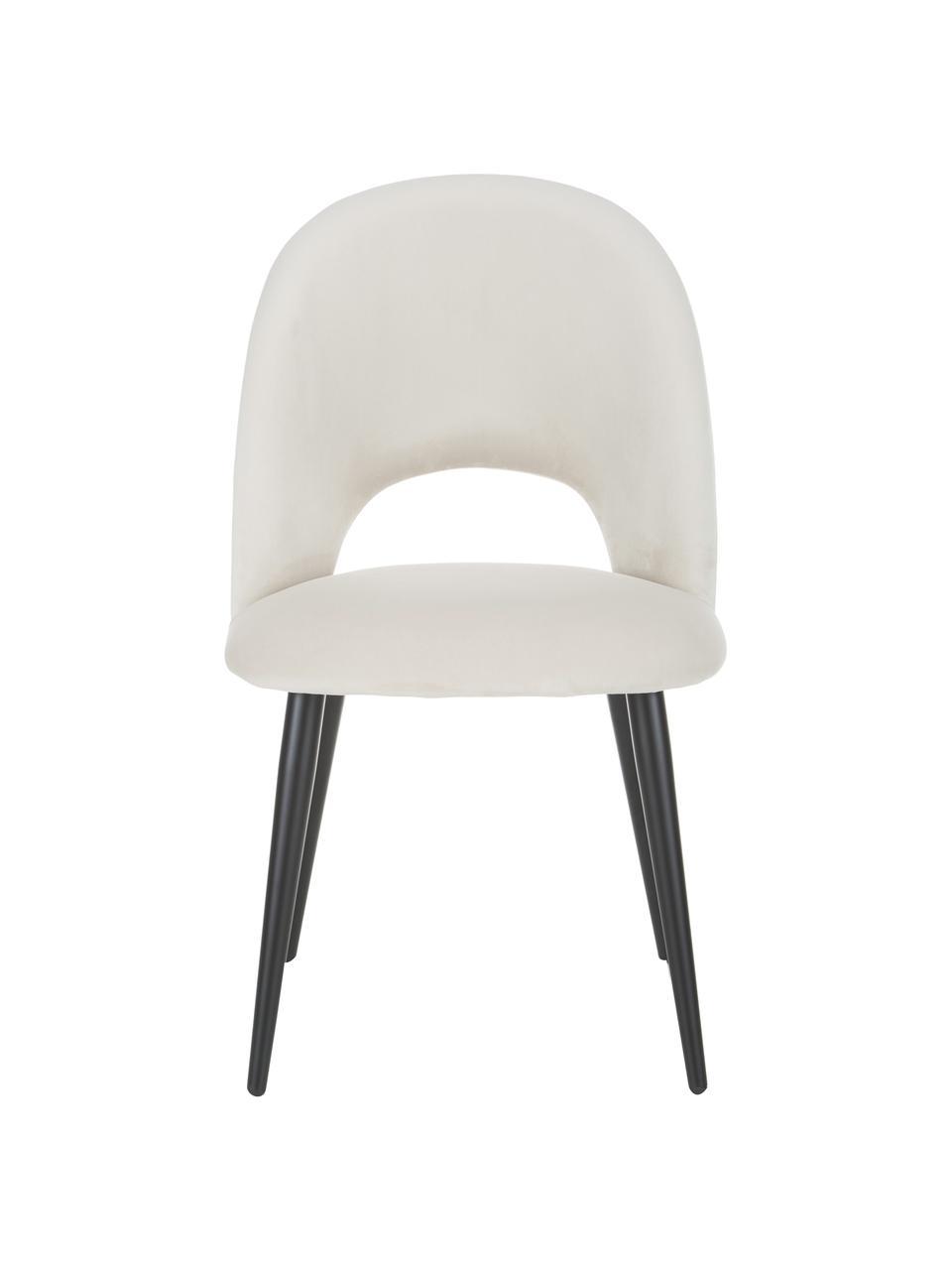 Fluwelen stoel Rachel, Bekleding: fluweel (hoogwaardig poly, Poten: gepoedercoat metaal, Fluweel beige, B 53 x D 57 cm